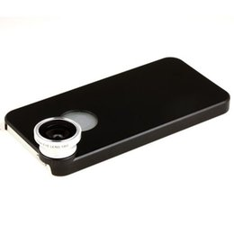 Wholesale Detachable Phone Camera Lens - Wholesale-Free Shipping Black 180 Degree Fisheye Fish Eye Detachable Mobile Phone Lens Camera + Back Cover Case For iPhone 5 5s