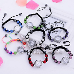 Wholesale Shambala Bracelet Mix - Wholesale-50pcs lot 2015 Mix 7colors Wholesale HandmadeSHAMBALLA CRYSTAL DISCO BALL BLING BRACELET SHAMBALA DIAMANTE WATCH 8 Balls Gift