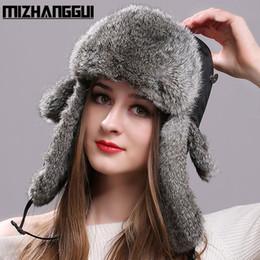 Wholesale Top Trapper Hats Men - Wholesale- Winter Women Men's Hats Natural Rabbit Fur Bomber Hat with Ear Flaps Waterproof Cloth Tops Russian Warm Fur Hats for The Winter