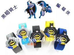 Wholesale Shell Bracelet Kids - Free shipping!500pcs lot ! Batman Silicone Slap Watch For Kids Rubber Jelly Digital Wristwatch Snap Bracelet G2531 Wholesale 1219#19