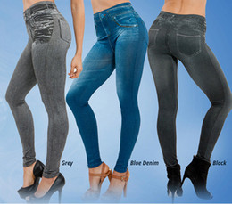 Wholesale Leggings Jeans Look - Fitness Clothing for Women Jeggings Jeans for Women Seamless Slim Jeggings Printed Leggings Real Pocket Jeans Look