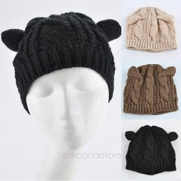 Wholesale Devil Horns Hats - Wholesale-2015 Devil horns Cat Ear Crochet Braided Knit Ski Beanie Wool Hat Cap Free Shipping Hot Selling New Design Style ZS*MHM719#S12