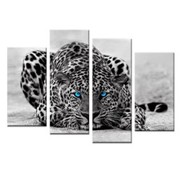 Wholesale Leopard Print Home Decor - 4 Pieces Abstract Blue Eyed Leopard Painting Black White Wall Art Animal Picture Prints On Canvas with Framed For Home Decor Ready to Hang