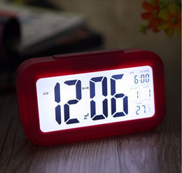 Wholesale Digital Clock Date Time - Digital Backlight Time Date Temperature Display Red Green Blue Black LED Alarm Clock Repeating Snooze Light-activated Sensor