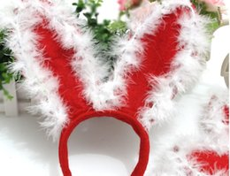 Wholesale Wholesale Feather Hat Bands - Limited 10% Off Rabbit Ears Hair Sticks Christmas Party Hats Feather Santa Claus Head Band Children Adults Christmas Gifts 25 Pecs MC12