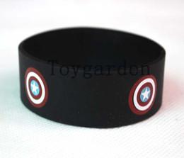 Wholesale Popular Silicone Wristbands - 20pcs Lot Popular Captain America Style Bracelets Wristband Silicone Bracelet Bangle Boy gift