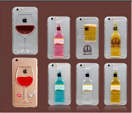 Wholesale Mugs Iphone - wine glass Phone Case for iPhone 6s 6 6Plus 5s Liquid Quicksand Red Wine Cocktail Glass Beer Mug Bottle Transparent Back Cover