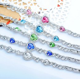 Wholesale Ocean Heart Jewelry Sets - Fashion The heart of the ocean crystal bracelet Austrian Crystal Bracelets & Bangles Jewelry Diamond charm bracelet 5 Colors