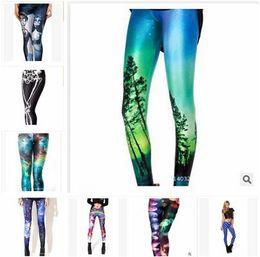Wholesale Sexy Leggings Skull - Leggins Women Pants Elastic Star Print Sexy Galaxy Leggings Slim Stretch Black Skull Graffiti Women Leggings Pants Springs