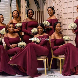 Wholesale Up Parts - 2017 Burgundy Satin Long Sleeve Bridesmaid Dresses Off The Shoulder Mermaid Style Maid Of Honor Wedding Guest Gown Formal Part Gown