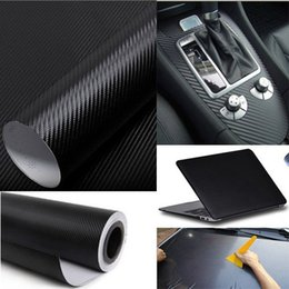 Wholesale Car Wrapping Carbon Accessories - Cool Fashon DIY Carbon Fiber Wrap Roll Sticker For Car Auto Vehicle Detailing 127CMx30CM car sticker vw car accessories free shipping TY436