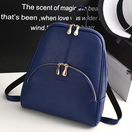 Wholesale Euro Style Bag - Fashion Women PU Leather Backpack Euro College Travel Shoulder Bag Daypacks Casual Brand Designer Shell Rucksack For Lady Girl