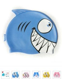 Wholesale Cute Boys Bath - Baby Swimwear Boys Girls Swimsuits Hats Kids Clothes Swimming Caps Silica Gel Children Cute Cartoon Fish Swim Shower Bath Cap I2743