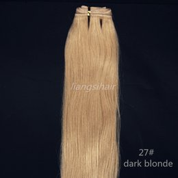 "Wholesale Double Drawn Straight Remy Hair - Human Hair Weaves Brazilian Virgin Remy Indian Peruvian Hair Bundles double drawn Weft Extensions 100g 1pcs 16""-26"" 27# Dark Blonde"