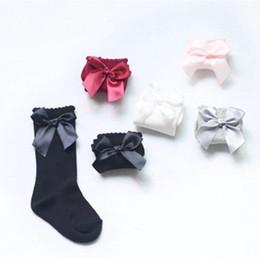 Wholesale Baby Cotton Bow Socks - 2017 UK New Girl Socks Baby Ribbon Bow Sock 5 Colors High 3 4 Knee Kids Princess Socks Fit 2-6T Fine Warm Legs Baby Socks Q1009