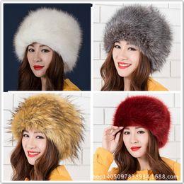 Wholesale Black Fox Earmuffs - Wholesale-Autumn and Winter Faux Fox Fur Russia Hat Cute Thick Warm Fur Earmuffs Dome Hat for Men and Women Cap