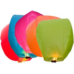 Wholesale Chinese Wishing Lanterns Wholesale - Wholesale 5PCS Paper Chinese Lanterns Wishing Lanterns Air Balloons Fire Sky Lanterns For Birthday Party Random Colors YT0098