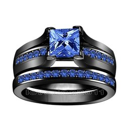 Wholesale Gifts For Gf - Princess cut 6mm blue Sapphire simulated Diamond 10KT Black Gold Filled GF 2-in-1 Engagement Wedding Ring Set for christmas gift Sz 5-11
