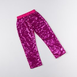 Wholesale Cloting Girl - Petti Hot Pink Sparkle pants ,Bling Bling Girls Boutique Cloting sequins Long Pants ,Toddler sequined Leggings for girls