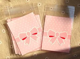 Wholesale Cake Jewelry Wholesale - 100Pcs Cake Gift Packages OPP Plastic Package Bag Lovely Pink and Blue Bow Design Candy food cookie Paper Pack