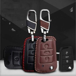Wholesale Skoda Remote - For 2015 Skoda Octavia Volkswagen Golf 7 Hand-stitched leather key case intelligent remote control package special car
