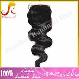 Wholesale Cheap Short Brown Hair Wig - #1 jet black 4x4 closures top 6a closure in stock cheap 100% peruvian virgin hair body wave lace closure bleached knots