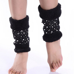 Wholesale Fleece Cuff - Christmas pearl rhinestone fleece leg warmers Dance socks Warm up knitted booty Gaiters Boot Cuffs Stocking Boot Covers 10pair lot #3930