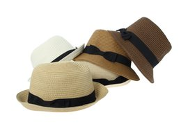Wholesale Ladies Visors Wholesale - Wholesale-10 Pcs bag Free Shipping 2015 Casual Brief Women Ladies Summer Beach Sun Hats Jazz Hat Visor Cap Straw Foldable ETY