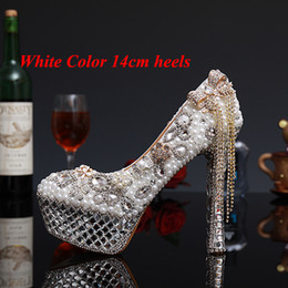 Wholesale Ivory Bridal Shoes Pearls - Luxury Crystal Pearl High Heels Bridal Wedding Dress Shoes Lady White Pearl Rhinestone Party Dress Shoes Thin Heels Shoes