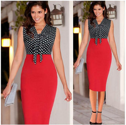 Wholesale Plus Summer Shift Dresses - Plus Size Sexy Polka Dots Bowtie Shift Sheath Knee Length Work Dresses Womens Bodycon Party Gown Clothing Size S to XXL
