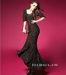 Wholesale Trendy Celebrity Evening Dress - FG1509 Trendy Celebrity Women Ladies Backless Sequin Evening Party Dress Sexy Ball Gown Mermaid Vestidos Long Maxi Free Shipping 1204