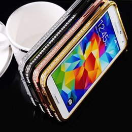 Wholesale Bumper Aluminium Case For S4 - Bling Rhinestone Diamond Aluminium Metal Bumper Frame + PC Material Crystal Cover Case For iPhone 4S 5S 6 Samsung Galaxy S3 S4 S5 Note 2 3