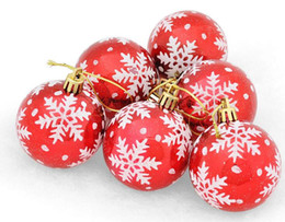 Wholesale Plastic Round Ornament - 6pcs 6cm snowflake Round Ball Pendant Suspension ornament For Christmas Party Holiday Tree Venun Hanging Decoration