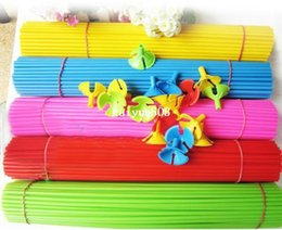 Wholesale Pvc Balloons - 100set lot Mixed colors 28cm length Latex Balloons Sticks And Cups Party Wedding Birthday Decoration Accessories Balloon Brace