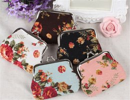 Wholesale Clutch Bag Wholesale Prices - 120pcs best price roses flower hasp small bag for women clutch handbag flower coin purse canvas key holder wallet D439