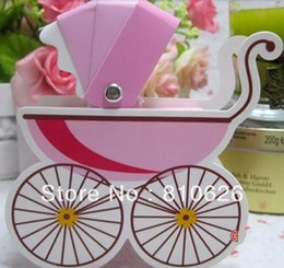 chocolate christmas gift Promo Codes - Free shipping 100pcs Pink baby carriage candy box baby carriage shower favors baby shower gifts baby shower chocolate box