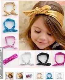 Wholesale Korean Girl Band Fashion - New 2015 Korean Girls Princess Hair Accessories Fashion Rabbit Ear Hair Ribbon Bow Baby Girls Elastic Tire Hair Band A4675
