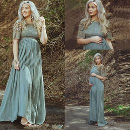 Wholesale Nude Dress Empire Waist - 2017 Long Chiffon Evening Dresses Wear for Pregnant Maternity Women Empire Waist Short Sleeves Formal Evening Gowns with Beaded Prom Gowns