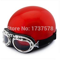 Wholesale Helmet Ibk - Wholesale-J.07 - Free Shipping Vintage IBK ABS Motorbike Casque Half Face Scooter Motorcycle Bright Red Helmet & UV Glasses Adult M L XL