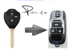 Wholesale Toyota Camry Key Buttons - KL117 Replacement Remodel Case Flip Folding Remote Chrome car Key Shell Fob For Toyota Camry Avalon Corolla 3 Buttons