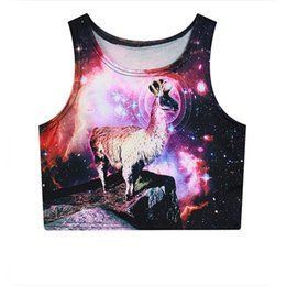 Wholesale Galaxy Cotton Tank Tops - Alisister cheap hot vest 3d space galaxy print unicorn deer crop tops summer style fashion tank top 2016 cotton elastic cropped
