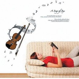 Wholesale Music Vinyl Wall Sticker - Hot sale A song of joy violin music tone musical wall stickers music decal for the living room bedroom decoration Free Shipping