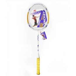 Wholesale Badminton Racquet Stringing - Wholesale- New Promotion Badminton Racket Aluminum Alloy Sports Entertainment Playing Badminton Racquet Family Fun With String Overgrip