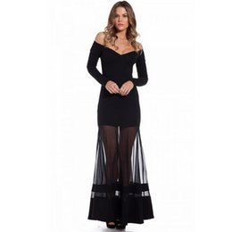Wholesale Long Sleeve Maxi Dresses China - New arrival long sleeve sexy dress summer with unique design off ther shoulder cheap clothes china women long dress