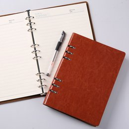 business planner notebook Coupons - Wholesale- Office Supplies Embossed Leather A6 Loose Leaf Notebook Business Notebooks Agenda Planner Vintage Traveler's Notebook Diary
