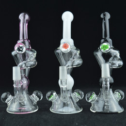 "Wholesale Glass Blown Water Pipes - Beautiful 7"" Recycler Bongs Flower Decor Chamber Oil Dab Rig Hand Blown Cone Base Glass Water Pipes Free 14mm Glass Bowl Hookah Pipes"