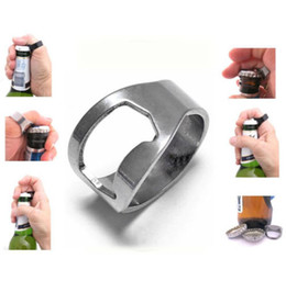 Wholesale Steel Ring Beer - RING Beer Bottle Opener Silver Stainless Steel Metal Finger Thumb keyring Brand New Good Quality Free Shipping
