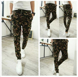 Wholesale New Men Fashion Pants - Camo baggy Joggers 2016 New Arrival Fashion Slim Fit Camouflage Jogging Pants Men Harem Sweatpants Cargo Pants for Track Training