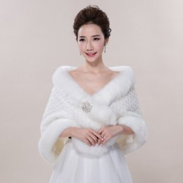 Wholesale Warm Bridal Bolero - New Bridal Wraps Faux Fur Shawl Jacket For Wedding Prom Ivory Winter Warm Rhinestone Bridesmaid Bolero Hot Sale 2017