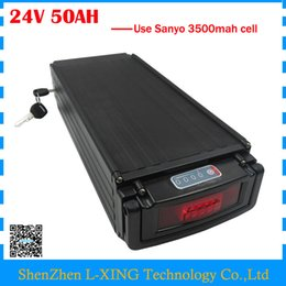 Wholesale 24v e bike - 1000W e bike battery 24v 50ah lithium battery 24V 50AH rear rack battery with tail light use Sanyo 3500mah cell 50A BMS